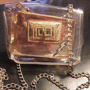 Aldo clear 2- piece shoulder bag chain strap cross